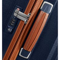 Leather soft-touch handles and sophisticated stitching details.